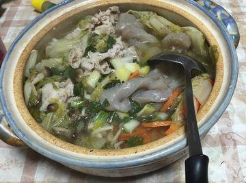 白菜とねぎたっぷり鍋
